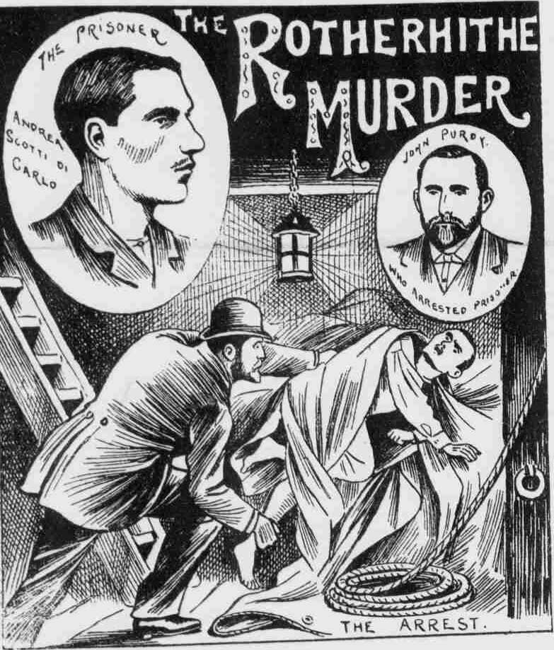 Illustrations showing the arrest of the suspect.