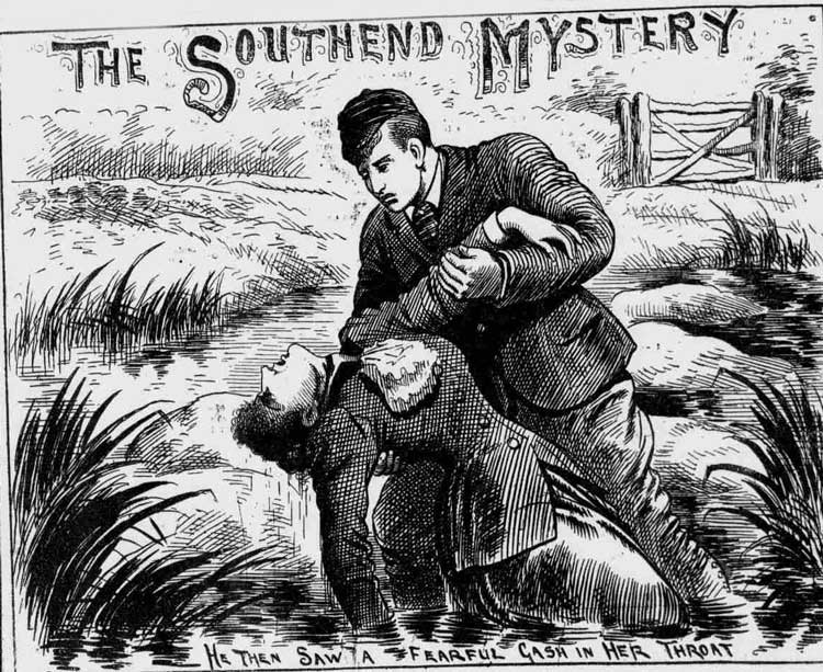 A sketch showing the finding of the body of Emma Hunt.