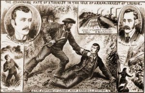 Sketches of the Arran murder and the capture of John Laurie.