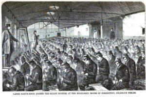 Prisoners picking oakum.