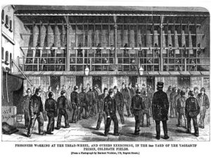 An illustration showing the prison treadmill.