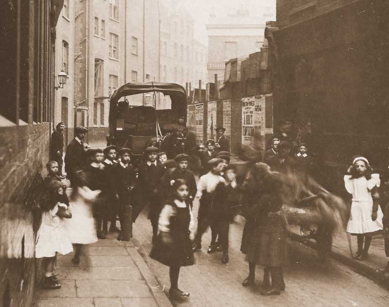 A group of Children in Bell Lane, Spitalfields.
