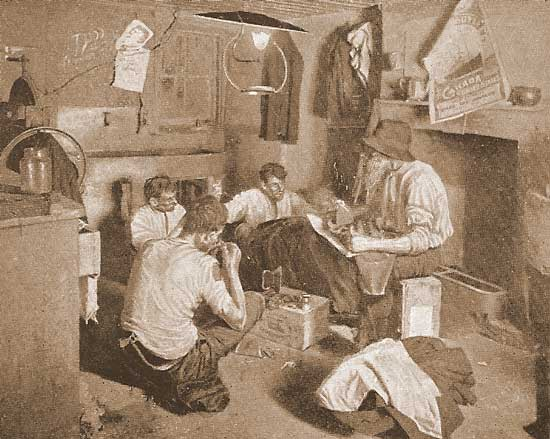 Men inside their East End lodging.