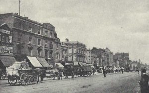 A photograph showing Mile End Road.