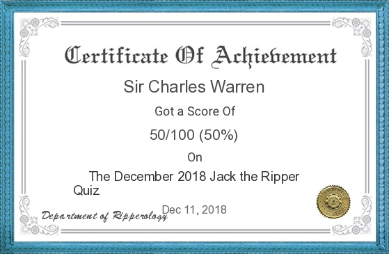 A Jack the Ripper quiz certificate with the name of Sir Charles Warren on it.
