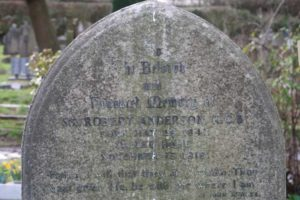 A close up of the name of Sir Robert Anderson on his gravestone.