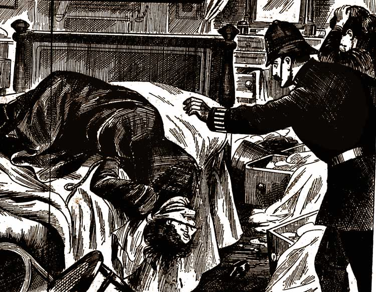 A poliman finds the body of Miss Farmer.