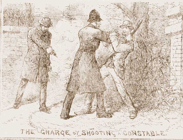 A sketch showing the police constable struggling with two men.