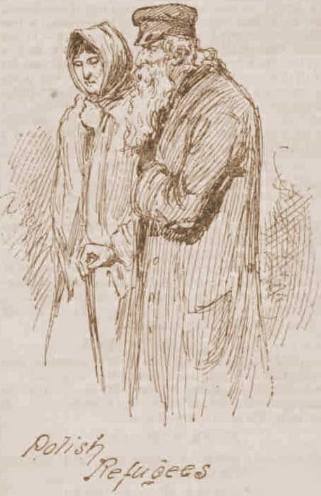 A sketch showing a man and woman who were Polish refugees.