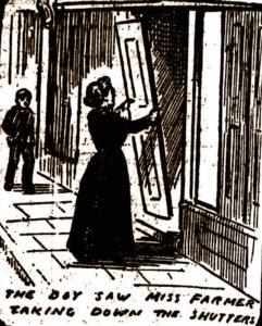 Miss farmer taking down the shutters outside her shop.
