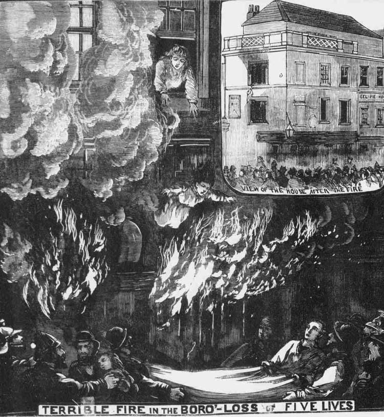 A house on fire in Victorian London.
