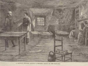 An illustration showing a medical officer visiting a family in a cholera room.
