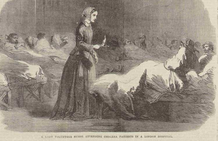 An illustration showing a cholera nurse attending patients in a hospital.