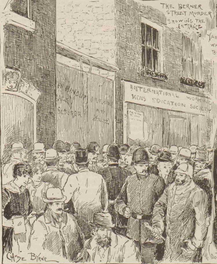 An illustration showing crowds gathered at the murder site in Berner Street.