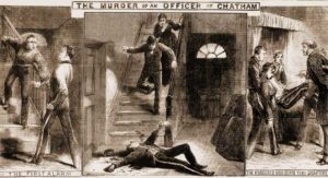 Illustrations showing the murder scene.