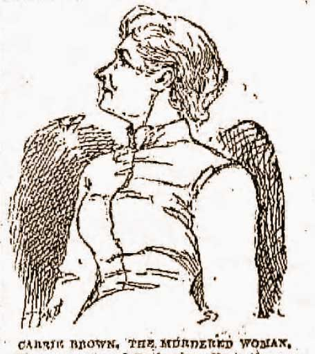 A newspaper sketch of the victim, Carrie Brown.