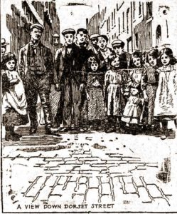 A skecth showing people in Dorset Street.