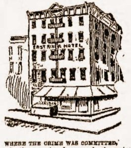 A sketch of the exterior of the East River Hotel.