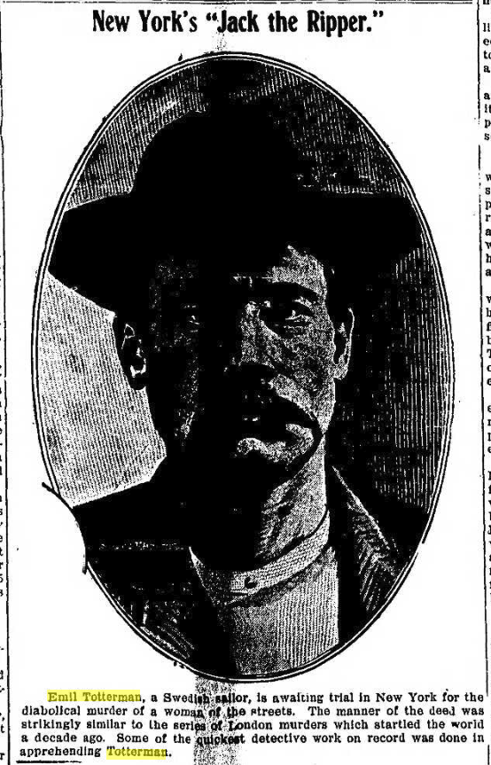 A photograph of Emil Totterman with an account of the murder.