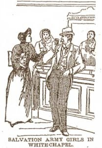 A sketch showing a Salvation Army firl talking with a customer at a pub in Whitechapel.