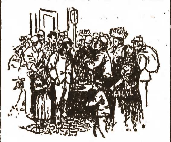 An illustration showing people in Whitechapel.