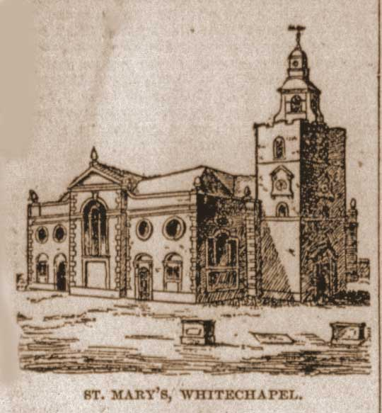 A sketch of St Mary's Church, Whitechapel.
