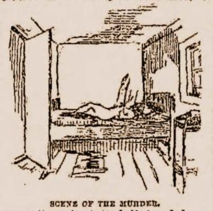 A sketch showing Carrie Brown on the bed.