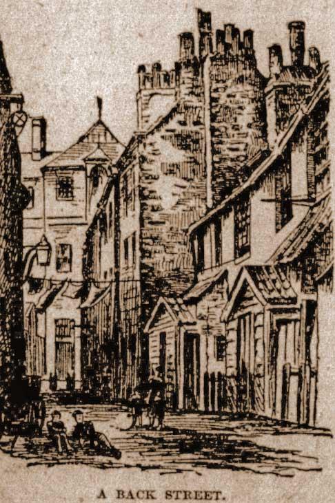 An illustration of a backstreet in Whitechapel.