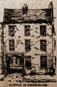 A sketch of a house and a gate in Whitechapel.