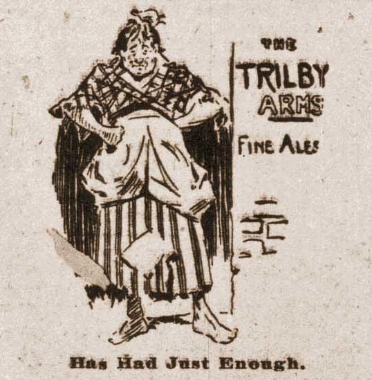 A sketch showing a drunken woman.