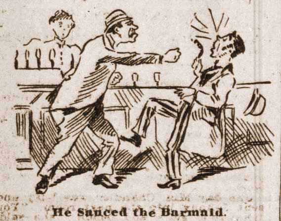 A sketch showing two men fighting in front of a barmaid.
