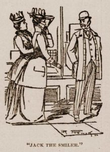 A sketch of Jack the Smiler approaching two women.