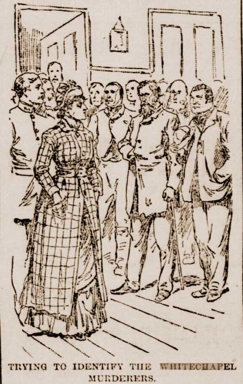 An illustration showing detectives looking at suspects.