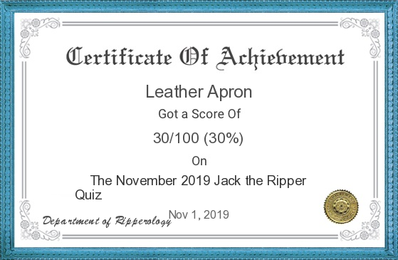 The certificate with the name Leather Apron on it.
