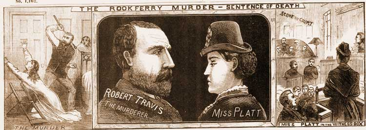 Illustrations showing the trail of Robert Travis and Eliza Platt.