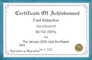 A copy of the Jack the Ripper Quiz Certificate.