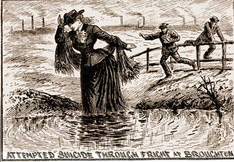 Annie Perry enters the River pursued by two men.