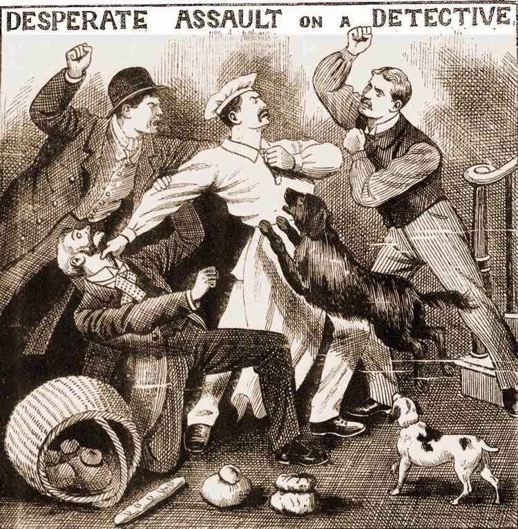 Inspector Marshall is assaulted by men and dogs.