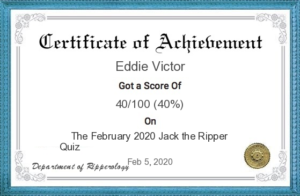 The February 2020 certificate. Eddie Victor's score was 40.