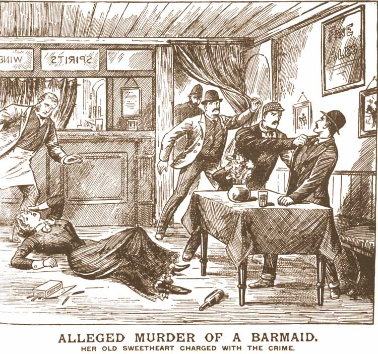 A sketch showing the murder of Mary Jane Hardwick.