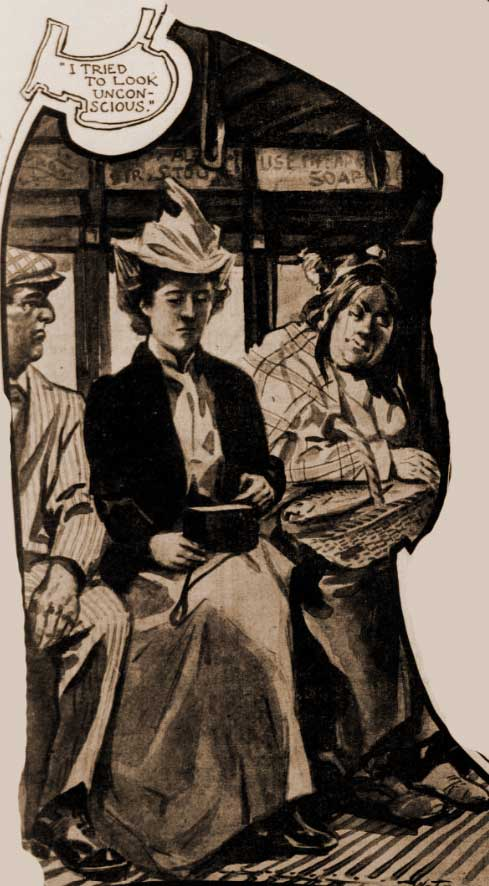 Woman sitting on tram.