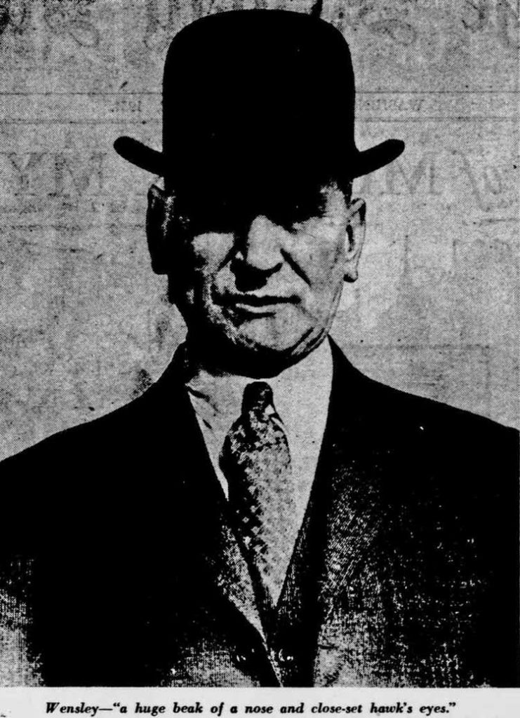 A photograph of Frederick Porter Wensley showing him wearing a bowler hat.