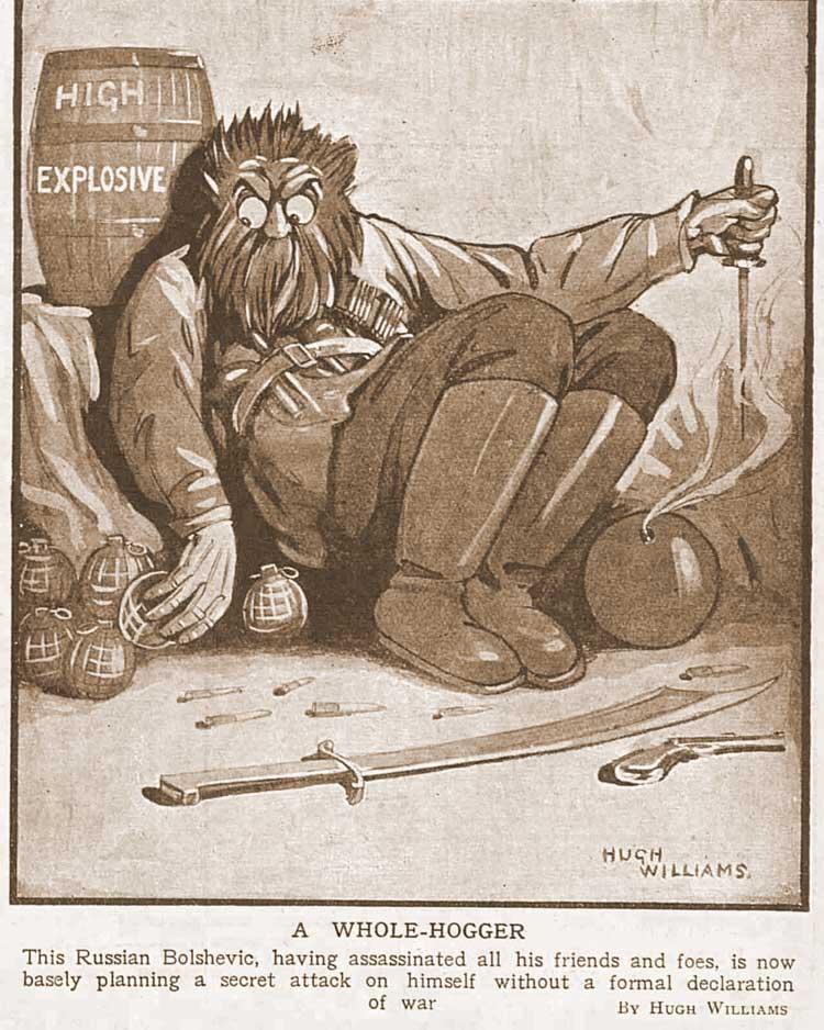 A caricature of an anarchist sitting by barrels of gunpowder.