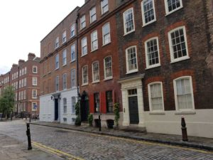 A photograph of the houses in Norton Folgate.