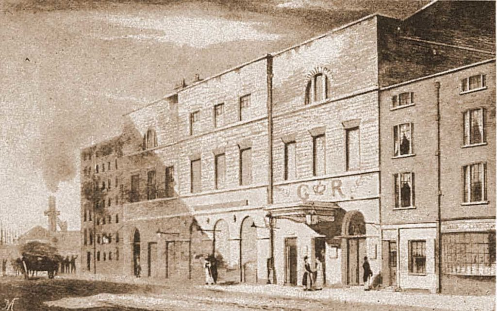 A sketch of the East End Theatre.