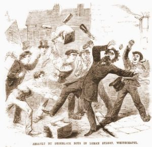 A sketch showing the assault being carried out on Mr. Woolf.