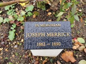 A photograph of the memorial to Joseph Merrick.