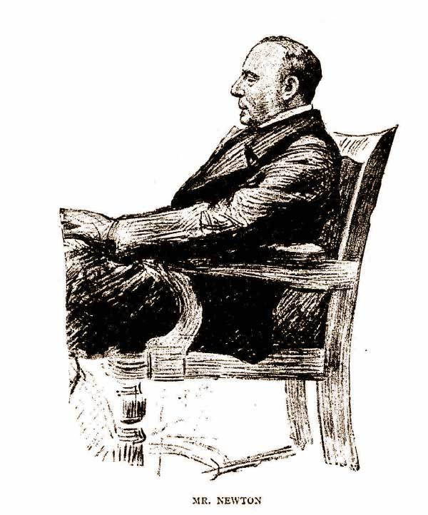 Mr Newton, The Magistrate sitting in a chair.