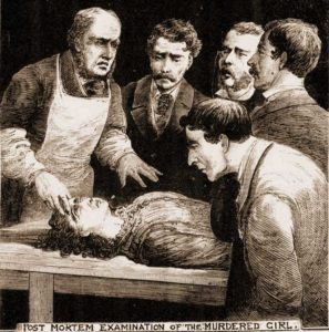 A sketch of the scene at the post mortem.