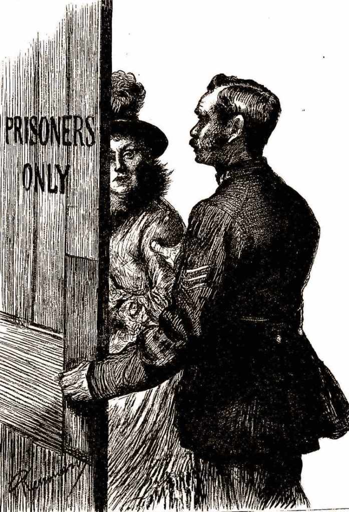 A policeman ushers a female prisoner into the court.